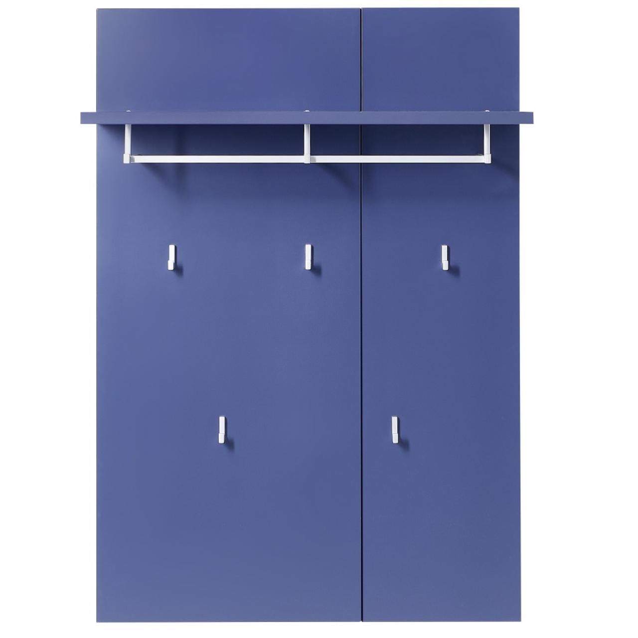 Garderobenpaneel K2 blau 5 Haken 1 Kleiderstange MDF Flur Diele Garderobe