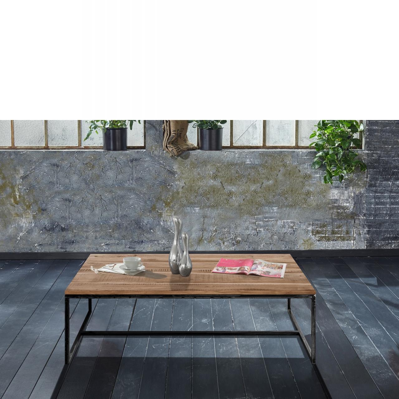 Couchtisch Spring 4698 Akazienholz Massiv Eisen Grau Schwarz Stubentisch Tisch