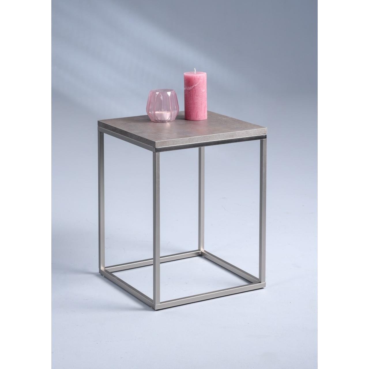 Beistelltisch Scala Keramik-/Edelstahloptik MDF Metall 40x40 cm