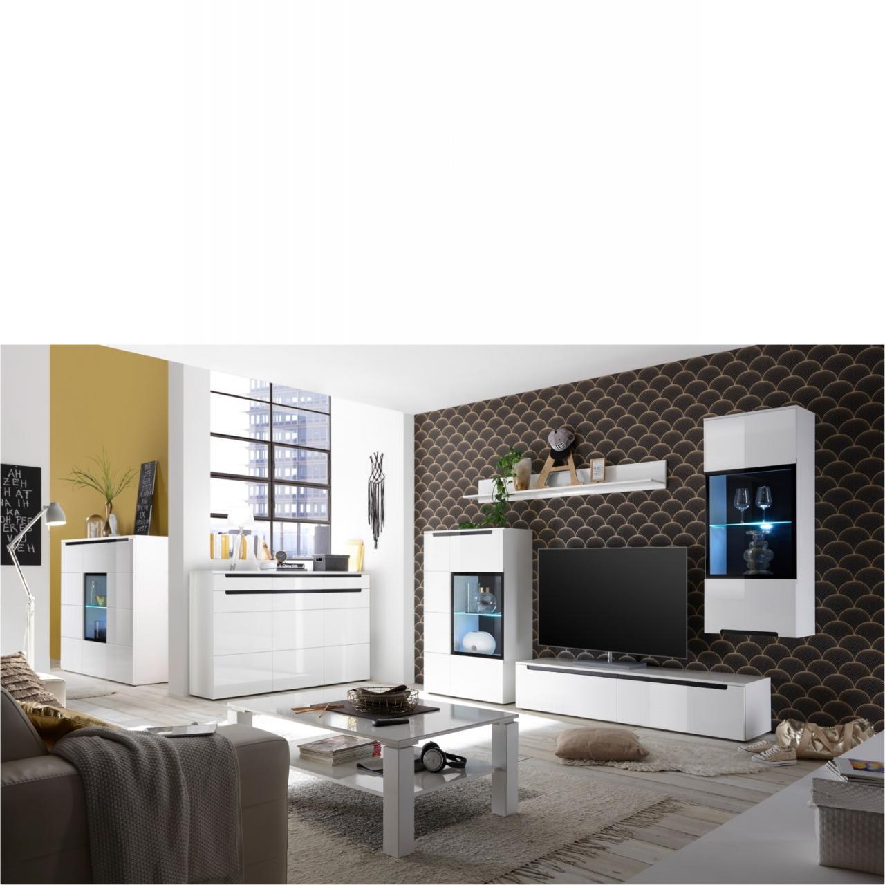 anbauwand frontal wei beton wohnw nde wohnen m bel. Black Bedroom Furniture Sets. Home Design Ideas