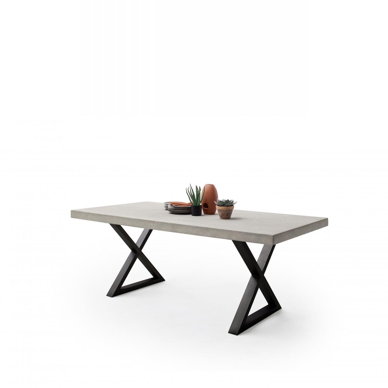 Esstisch Dahlia 220x100 cm Holzplatte betonbeschichtet Metallgestell X Form