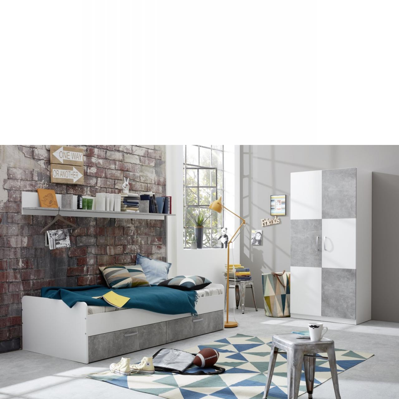 Jugendbett Canaria - Weiß/Beton