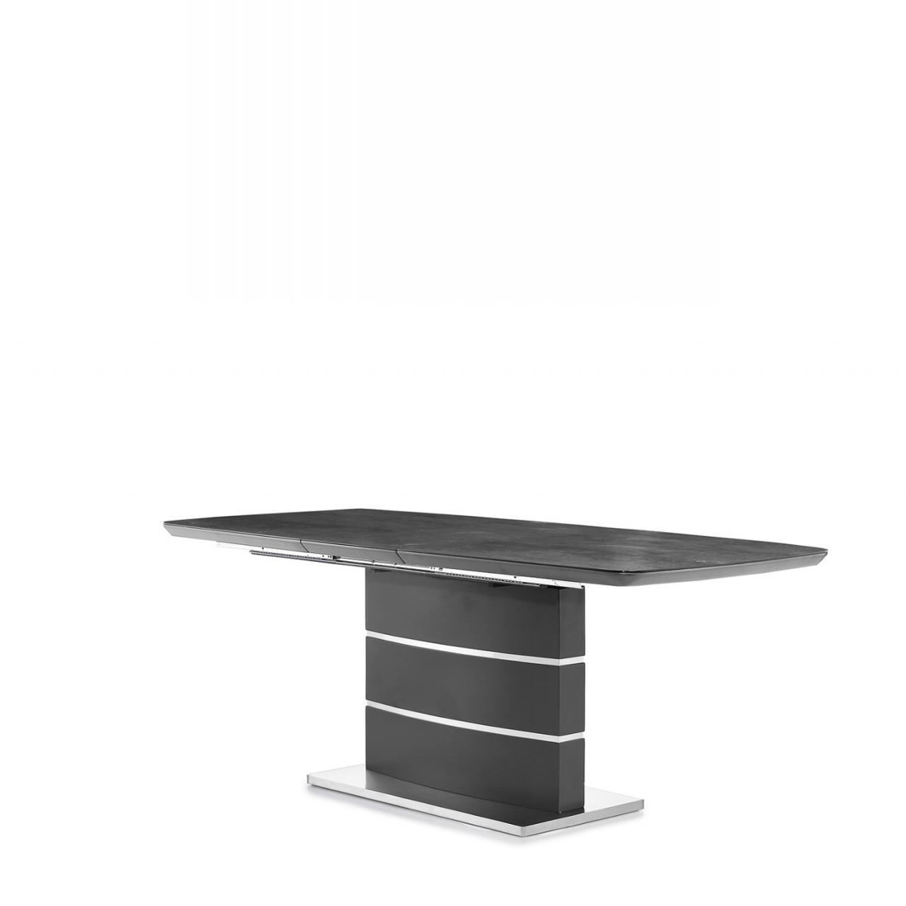 Esstisch Joana Glas grau MDF Synchronauszug Edelstahl Fußplatte Küchentisch