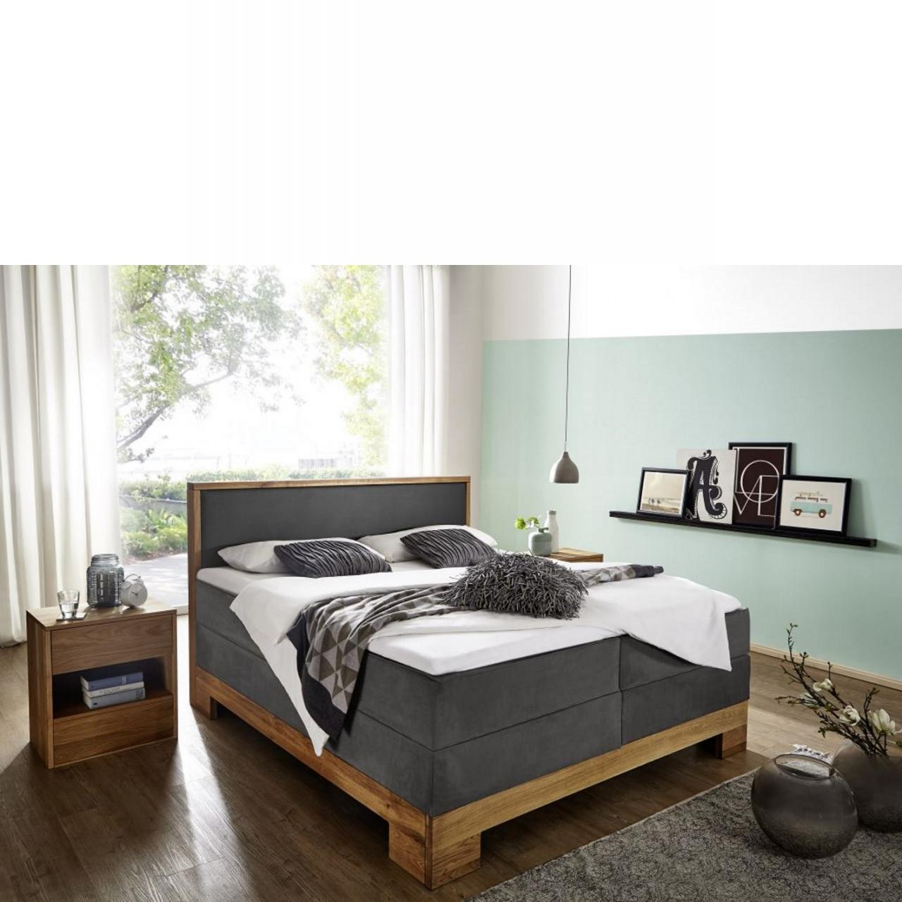 Bett Wildeiche Massiv 180x210 Cm Grau Mobel Jahnichen Center