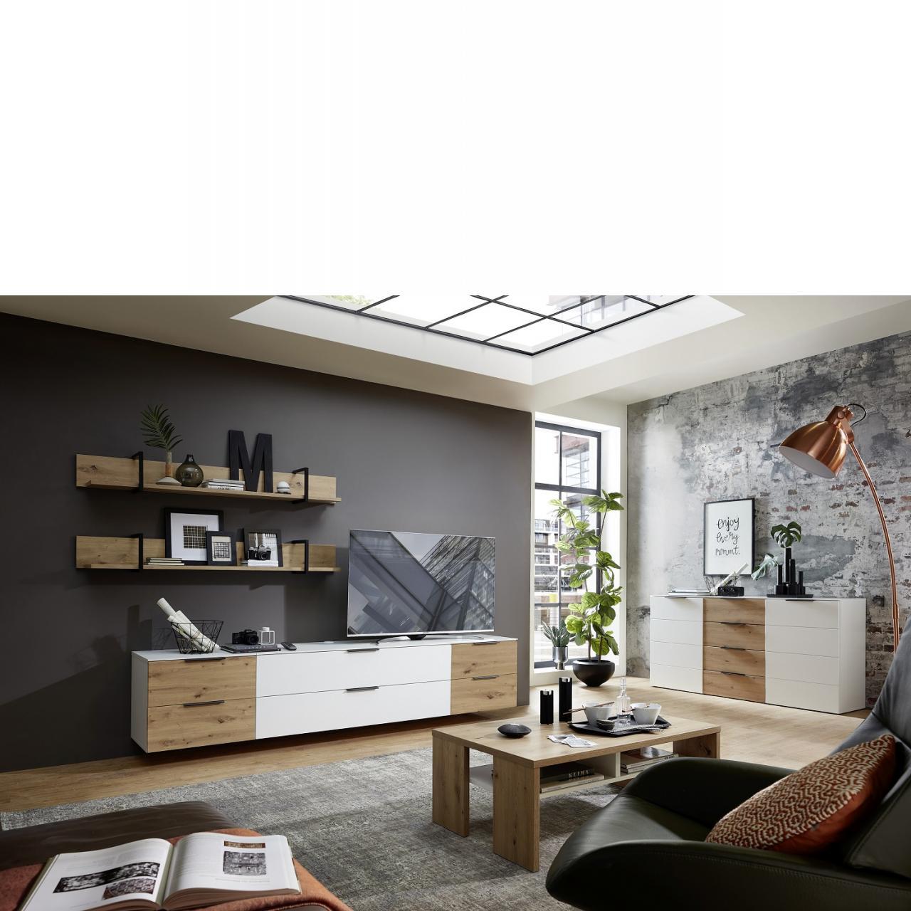 Wohnwand Mediana Artisan Eiche Nb. Weiß 3-teilig MDF inkl. LED Beleuchtung
