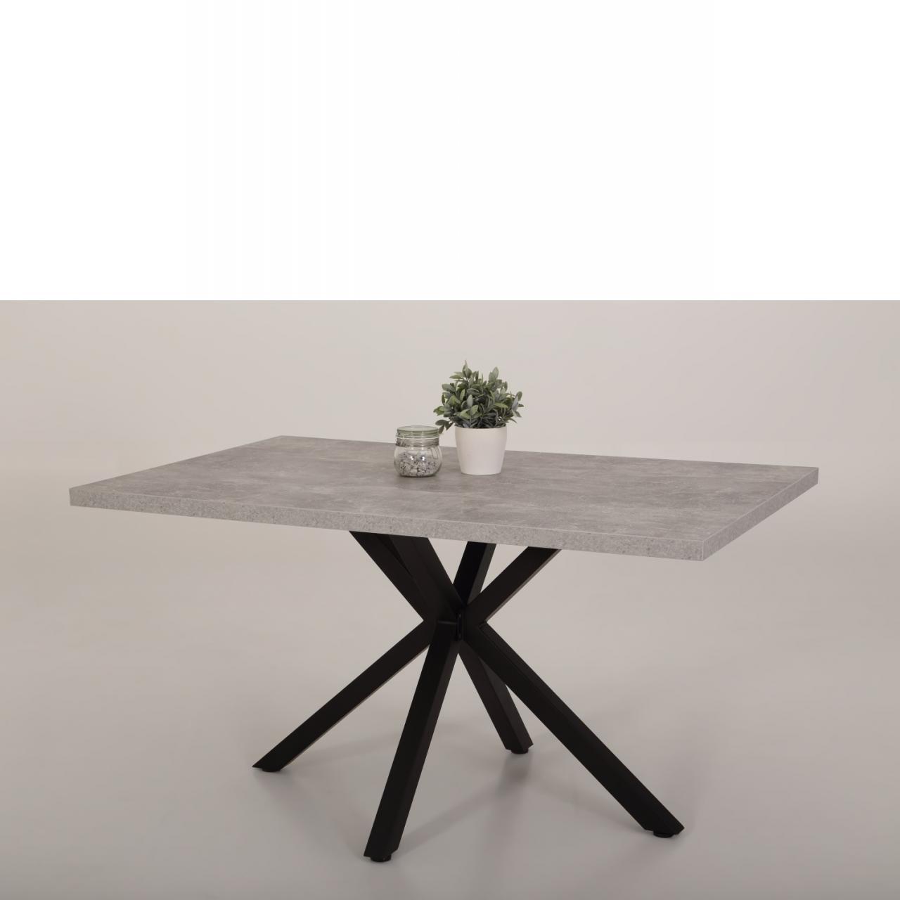 Esstisch Cleo I Beton-Optik 4 Fuss Gestell Metall Schwarz Tischplatte Fest Tisch