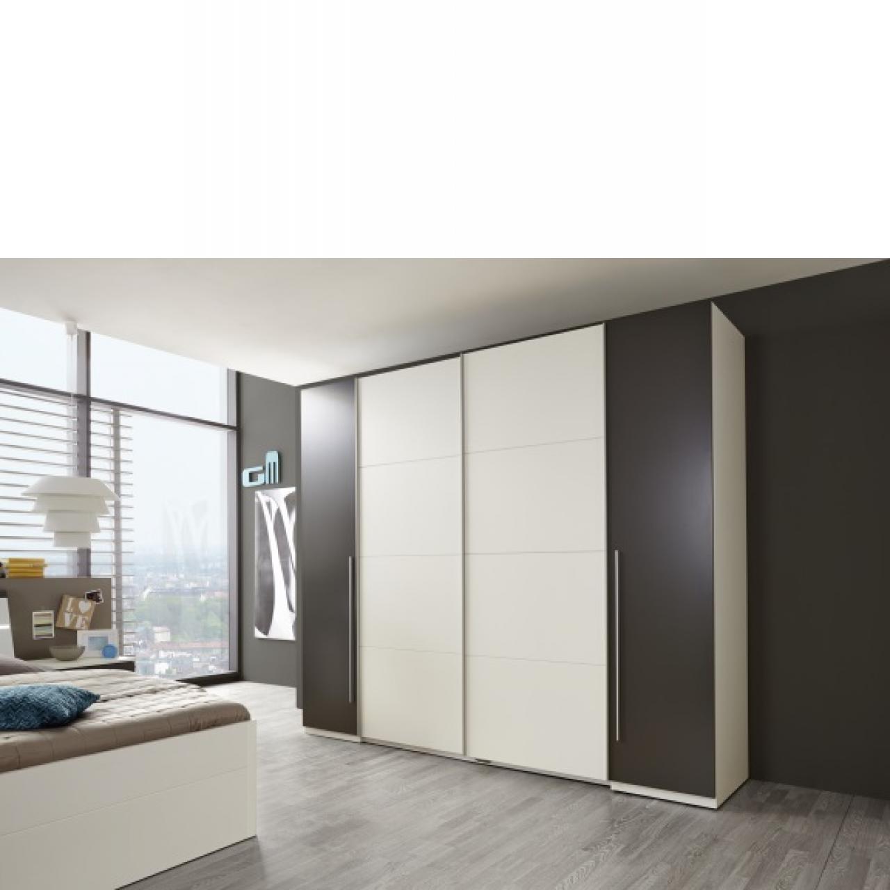 Schwebetürenschrank Match 2 Kleiderschrank Schlafzimmerschrank Weiß Lava 270