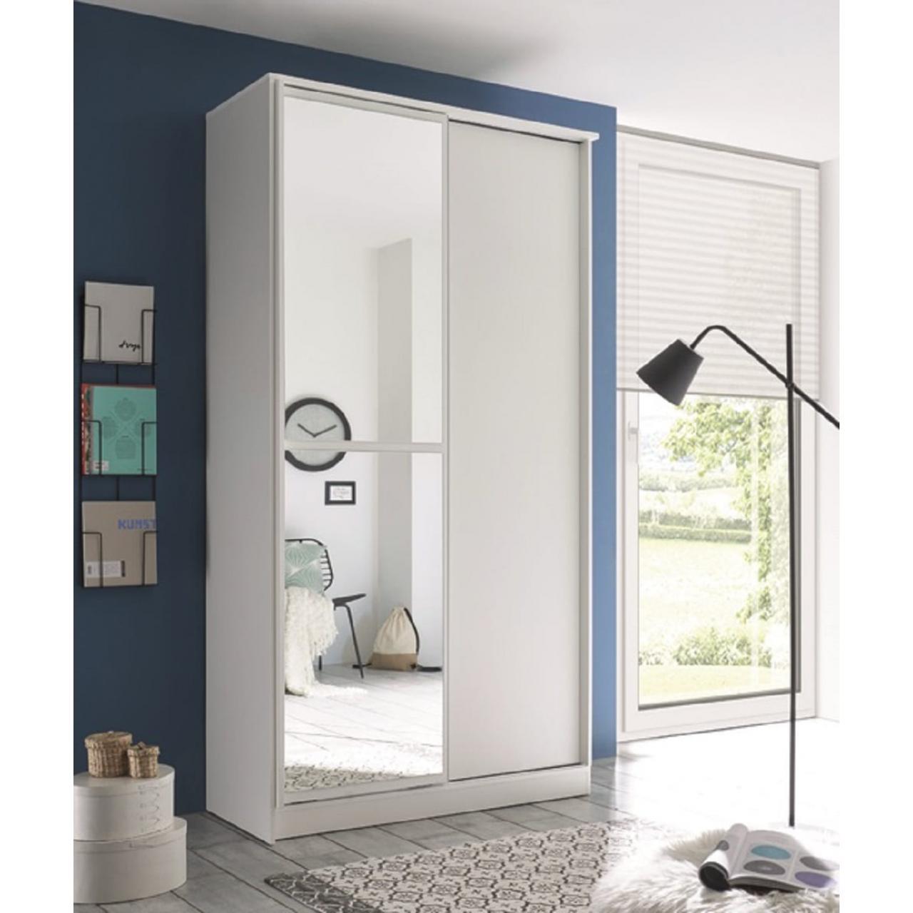 Schwebetürenschrank Aledo Weiß 2-türig Kleiderschrank 120 x 220 x 45 cm Mit Spiegel
