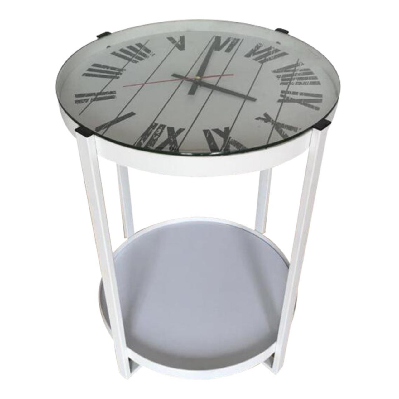 Beistelltisch B154371 Weiß Mit Uhr Mit Ablage Stubentisch Tisch Couchtisch