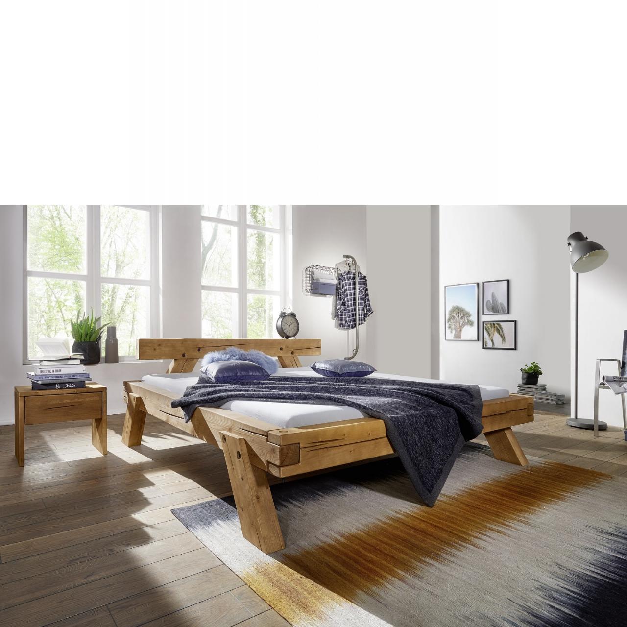 Bett BE-0281 Kiefer Massiv Honig Gebeizt Natur Schlafzimmer Gästebett