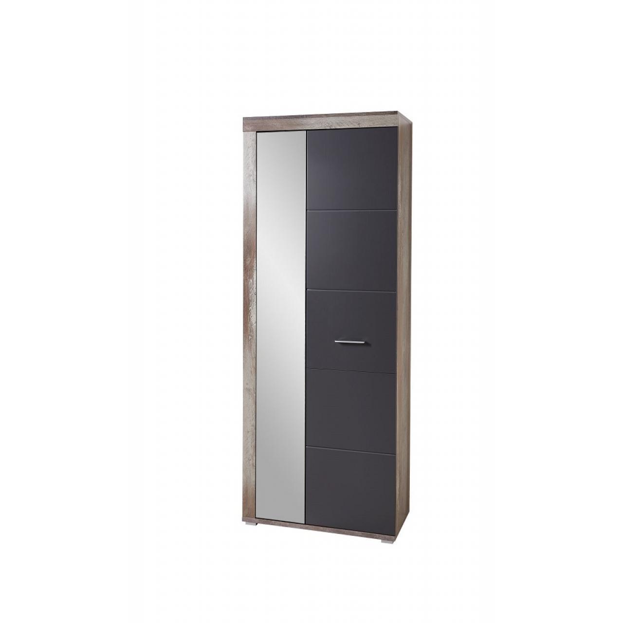 Garderobenschrank Crown-X Driftwood Nb. Graphit 1 Spiegeltür 5 Böden Flur Diele