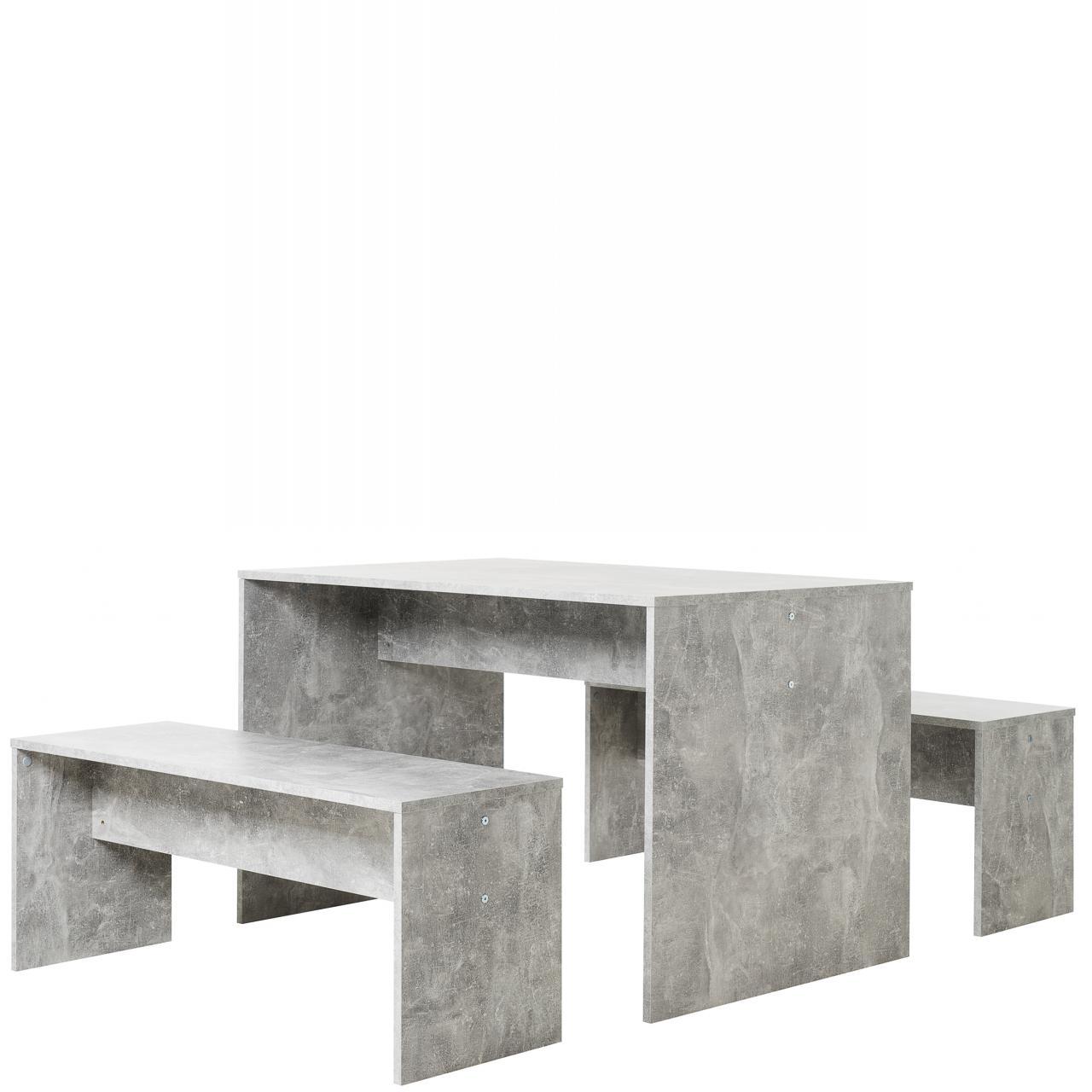 Tischgruppe Berlin 3-teilig Beton Dekor 2 Sitzbänke Tisch Set Küche Esszimmer