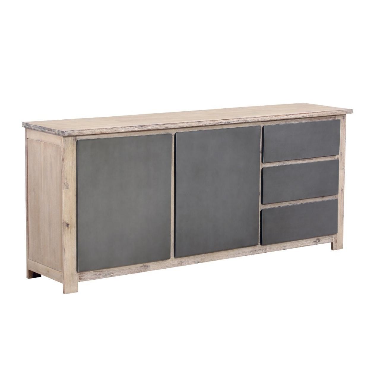 Sideboard RFD, Anrichte, Kommode, Echtholz, 2 Türen, 4 Schubkästen, montiert
