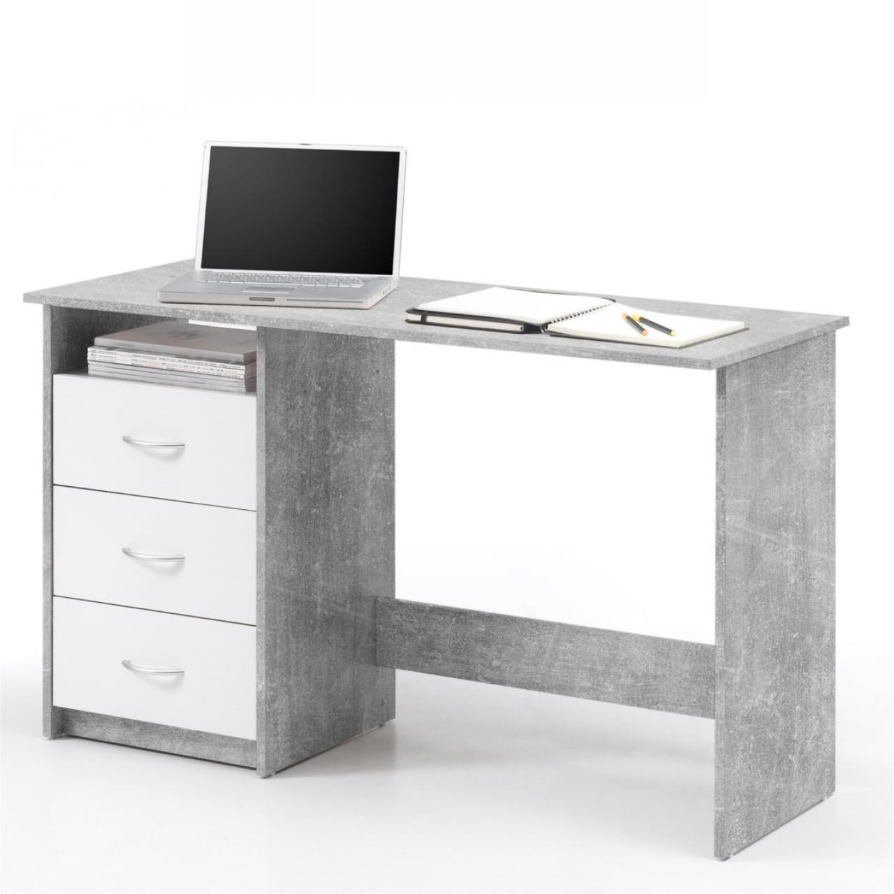 schreibtisch adria beton wei 3 schubk sten m bel j hnichen center gmbh. Black Bedroom Furniture Sets. Home Design Ideas