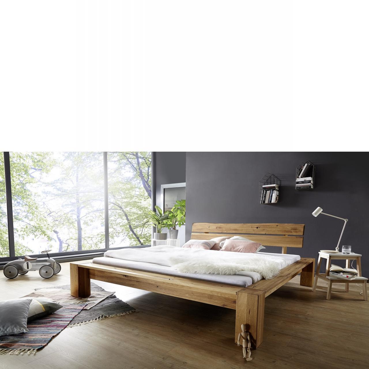 Bett BE-0286 Wildeiche Massiv Geölt Kopfteil Baumkante 2-teilig Schlafzimmer