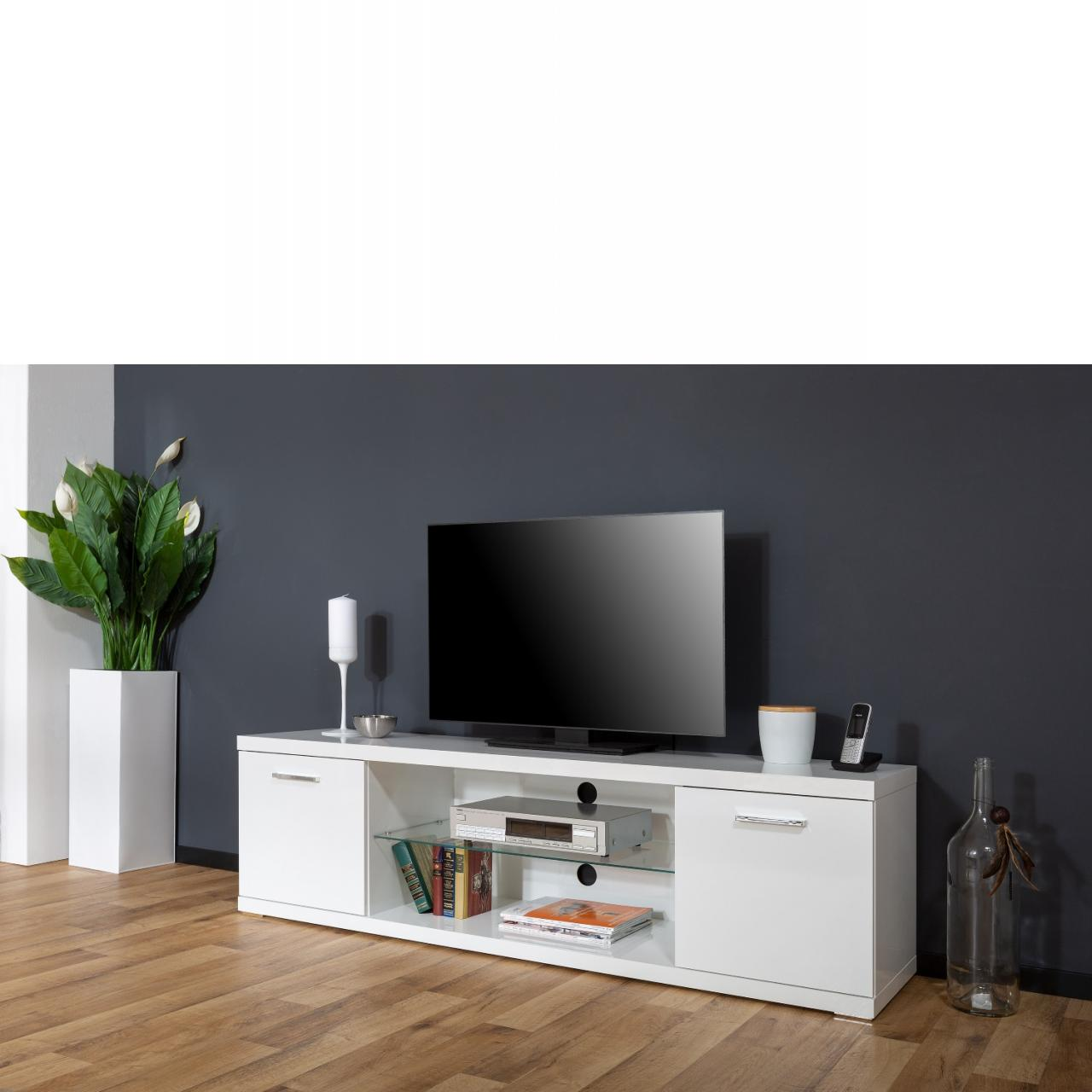 TV-Board Milano Weiß Hochglanz Sideboard Lowboard TV-Tisch