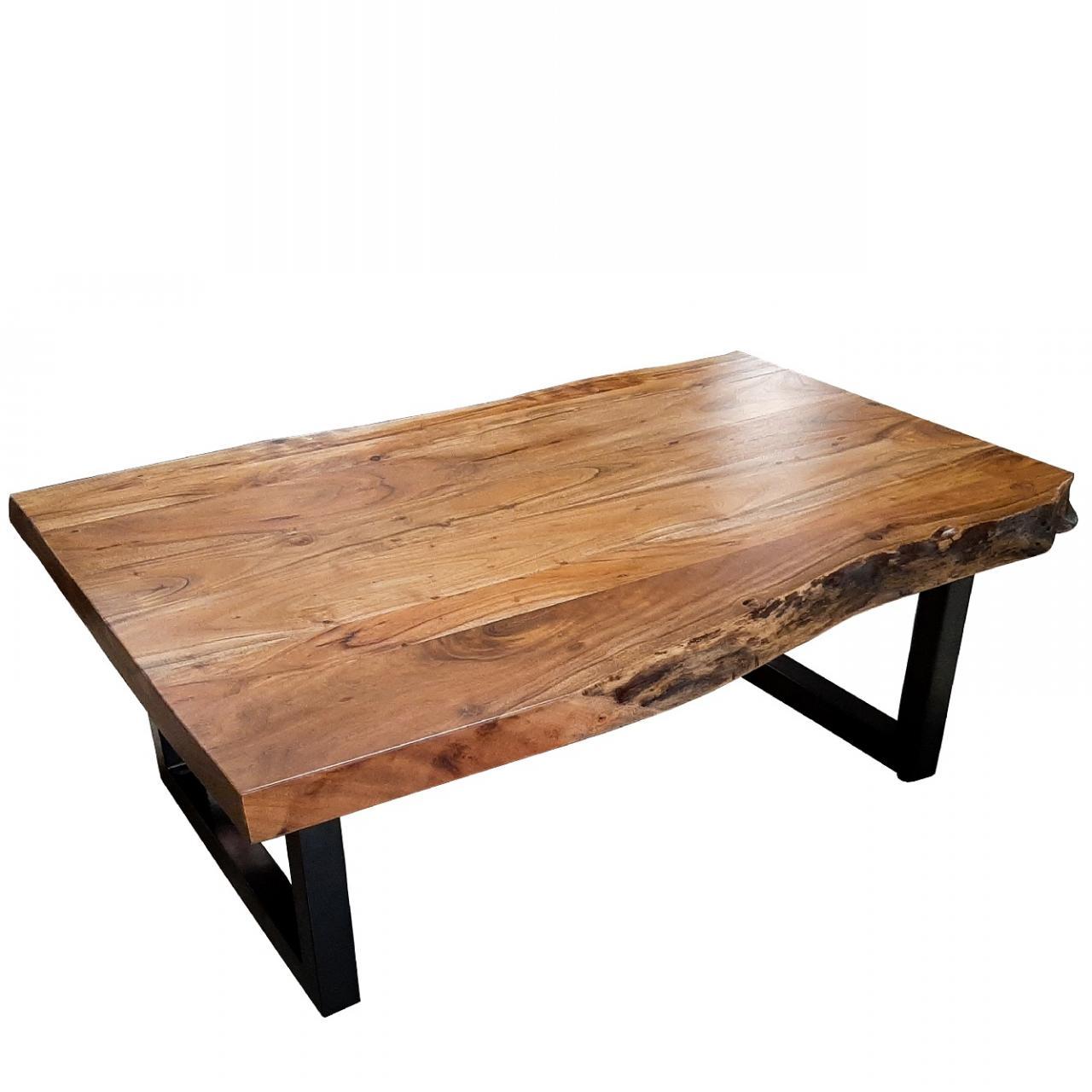 Couchtisch TI-0429 Akazie Massiv Mit Baumkante Eisen U-Gestell Stubentisch Tisch
