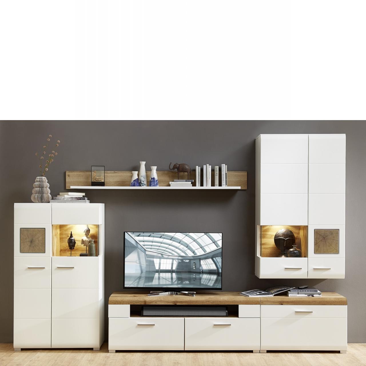 Wohnwand Fun Plus 320x205x47 cm, weiß matt, Hirnholz, Schrankwand, 4-teilig