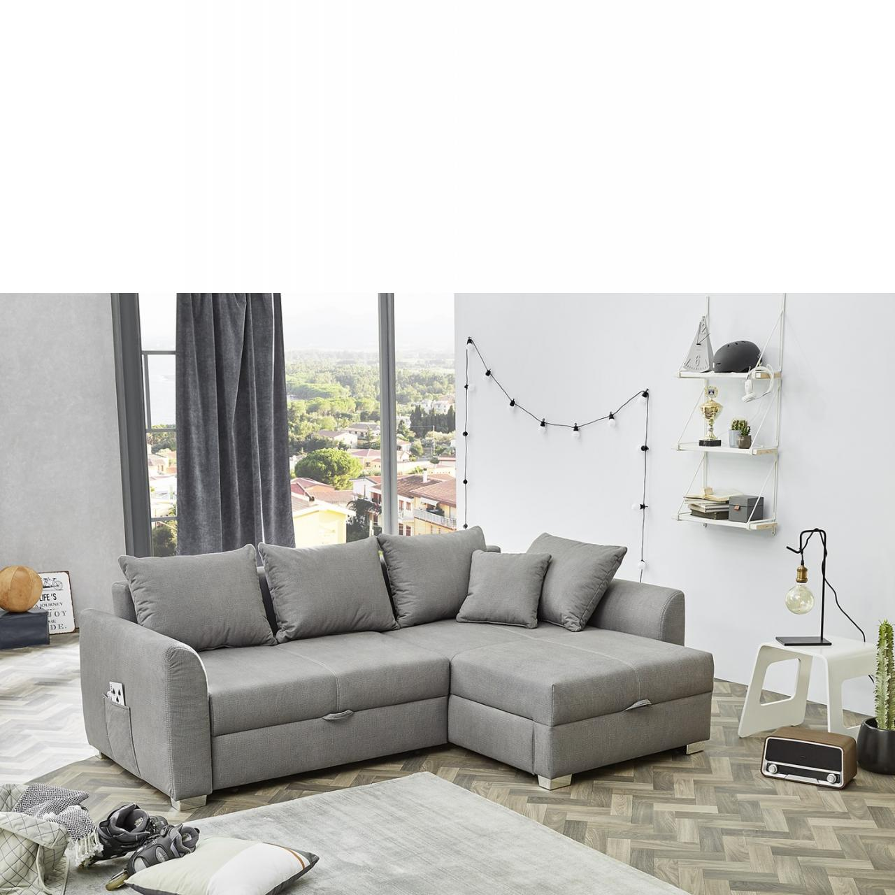 wohnlandschaft boomer grau mit schlaffunktion inkl kissen. Black Bedroom Furniture Sets. Home Design Ideas