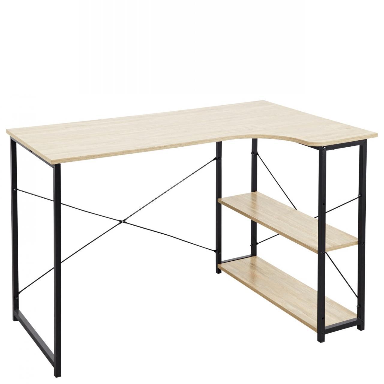 Eckschreibtisch Cancun Metall Schwarz Sonoma Eiche Nb. Büro Spanplatte Tisch