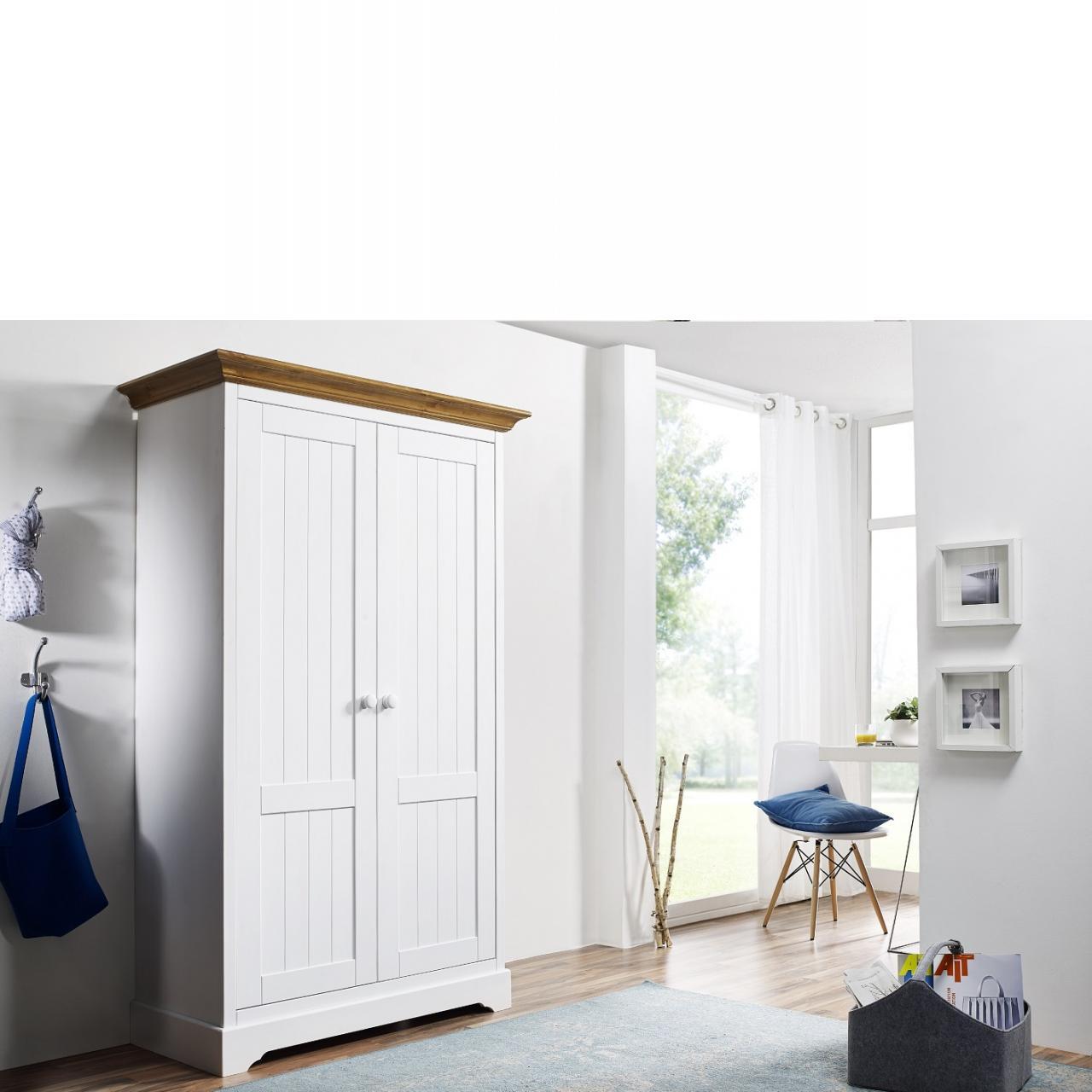 Universalschrank KM-0026 Weiß Honig 2 Türen 8 Fächer 3 Böden Kiefer Massiv