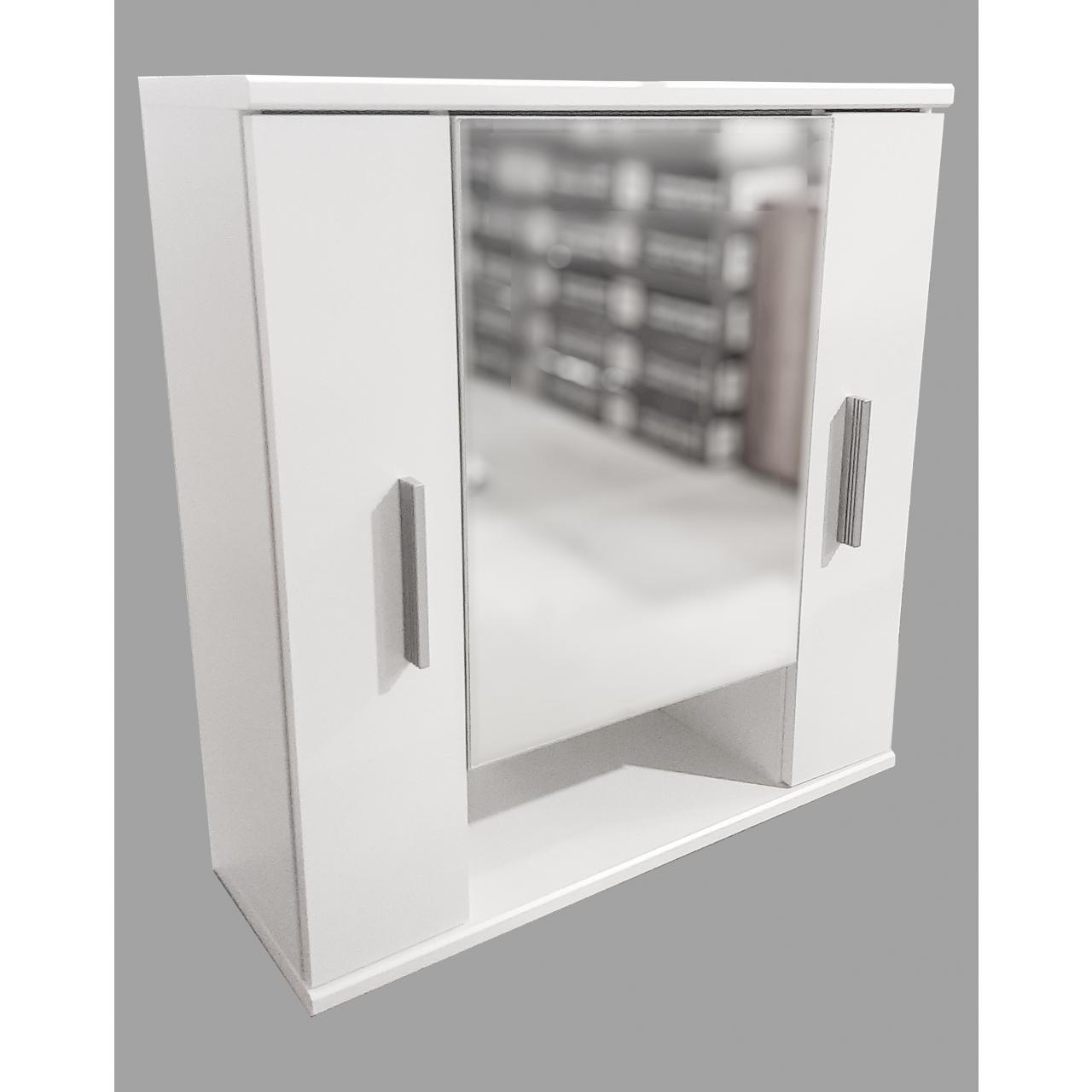 Spiegelschrank Juist Weiß inkl. Beleuchtung 2 Türen 1 Offenes Fach Gäste-WC MDF