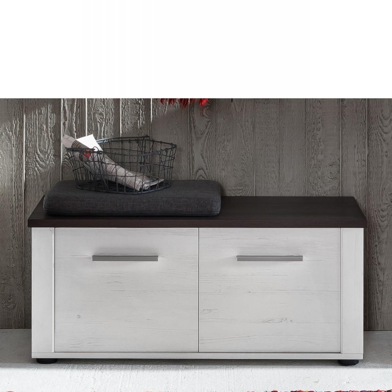 Garderobensitzbank Dakota - Weiß mit dunkelbraunen Absetzungen