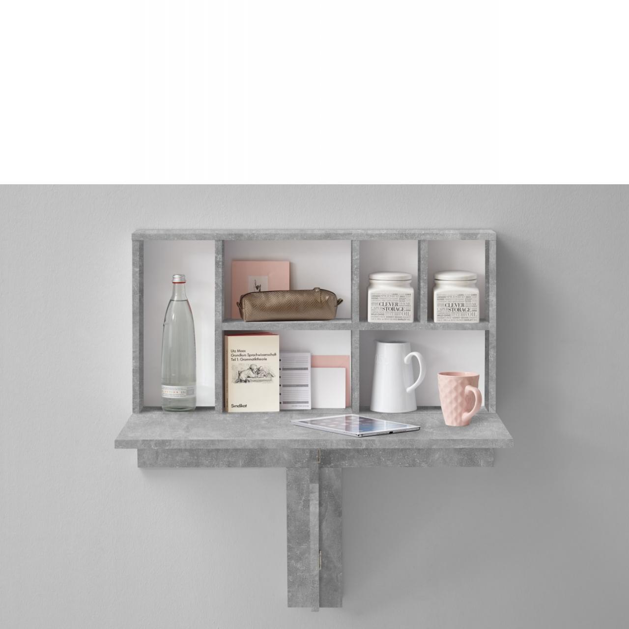 arta 2 klapptisch mit regal beton regale wohnen m bel j hnichen center gmbh. Black Bedroom Furniture Sets. Home Design Ideas