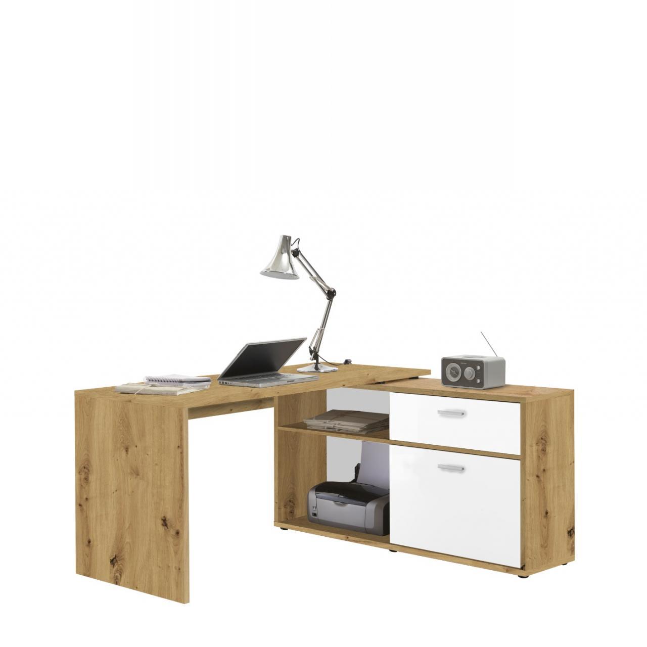 Winkelschreibtisch Diego Artisan Eiche Nb. Brillant Weiß MDF Büro Schreibtisch