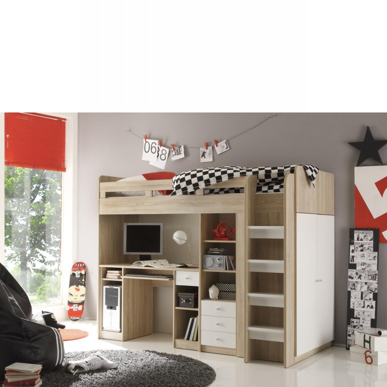 Hochbett Unit Eiche Sonoma Nb. Weiß inkl. Schreibtisch Bett Kinderzimmer MDF