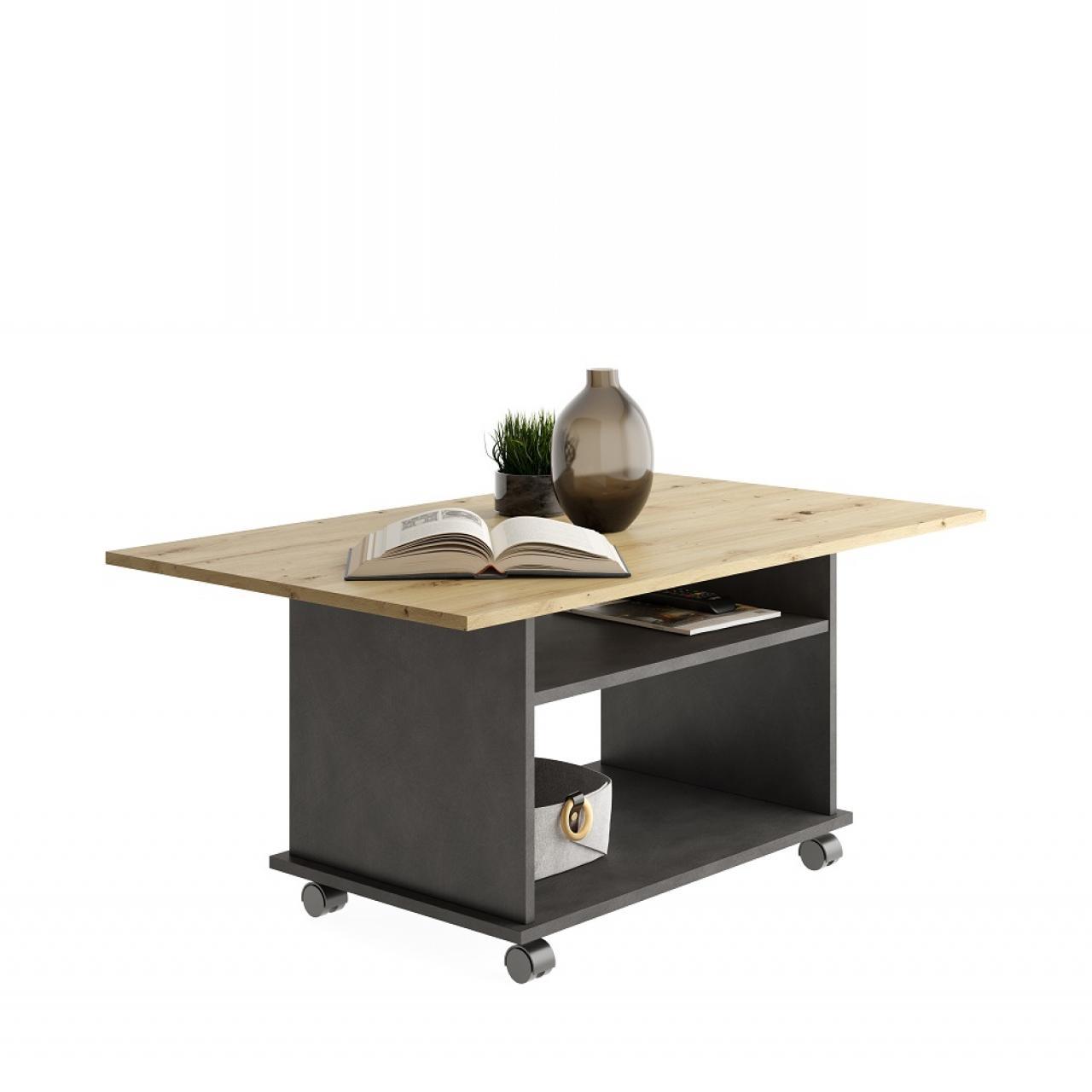 Couchtisch Azur 662-001 Matera Artisan Oak Mit Rollen Stubentisch Tisch Beistelltisch