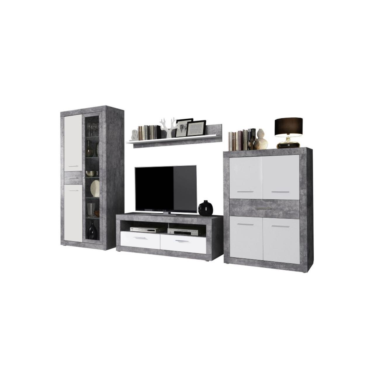wohnwand vitus wohnm bel beton wei 4 teilig m bel j hnichen center gmbh. Black Bedroom Furniture Sets. Home Design Ideas