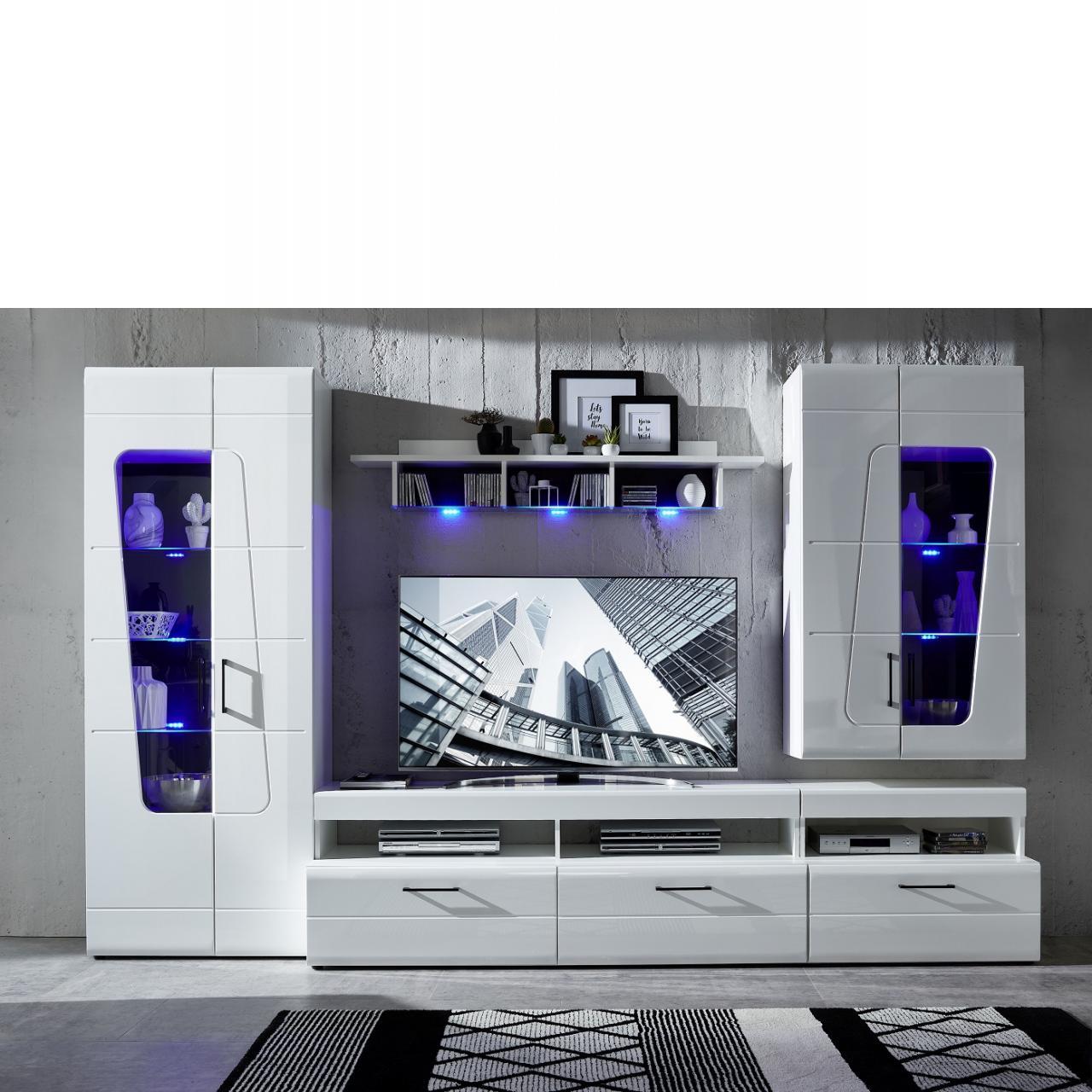 TV-Wohnlösung Spirit Plus Weiß Hochglanz 4-teilig MDF Mit Beleuchtung Wohnwand