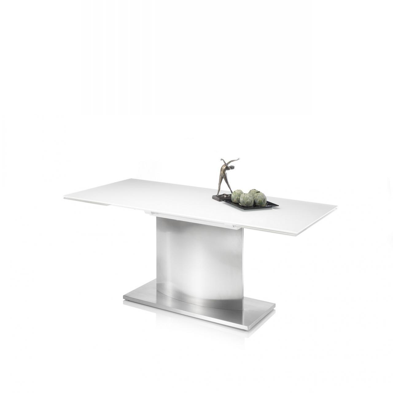 Esstisch Igor Super White Glas Edelstahl Ausziehbar Tisch
