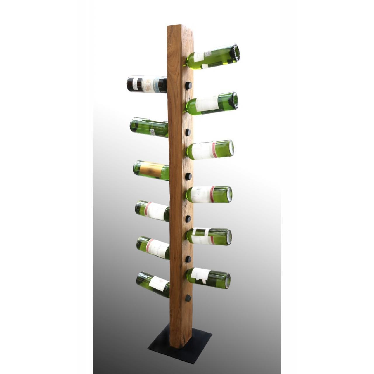 Weinständer W502-150 Natur Teakholzwurzel Bodenplatte Metall Getränkehalter