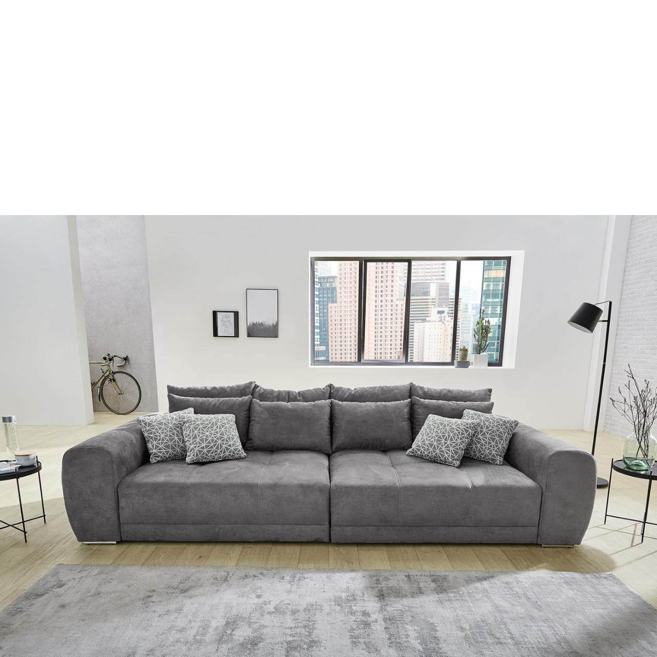 Big Sofa Moldau Stoff Grau Mega Sofa Lounge Riesensofa XXL Sofa Mit Kissen