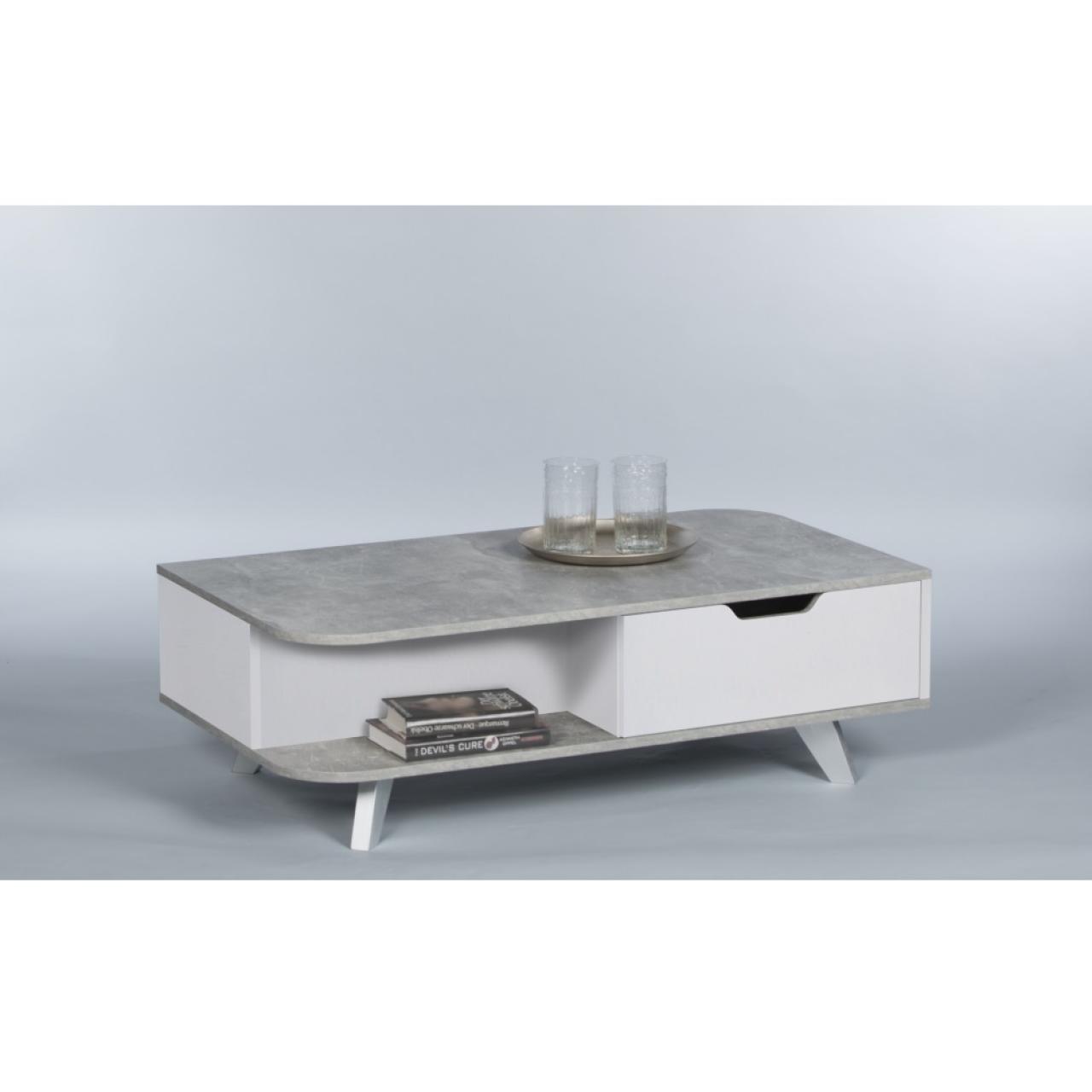 Couchtisch Alix Beton/Weiß