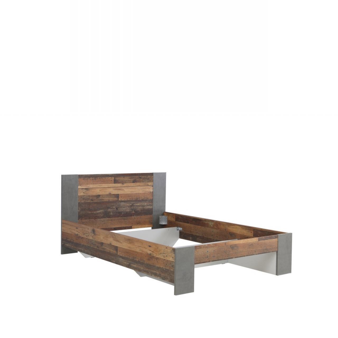 Liegegestell Clif 140x200 Jugendzimmer MDF Old Wood Vintage Nb. Betonoptik Bett