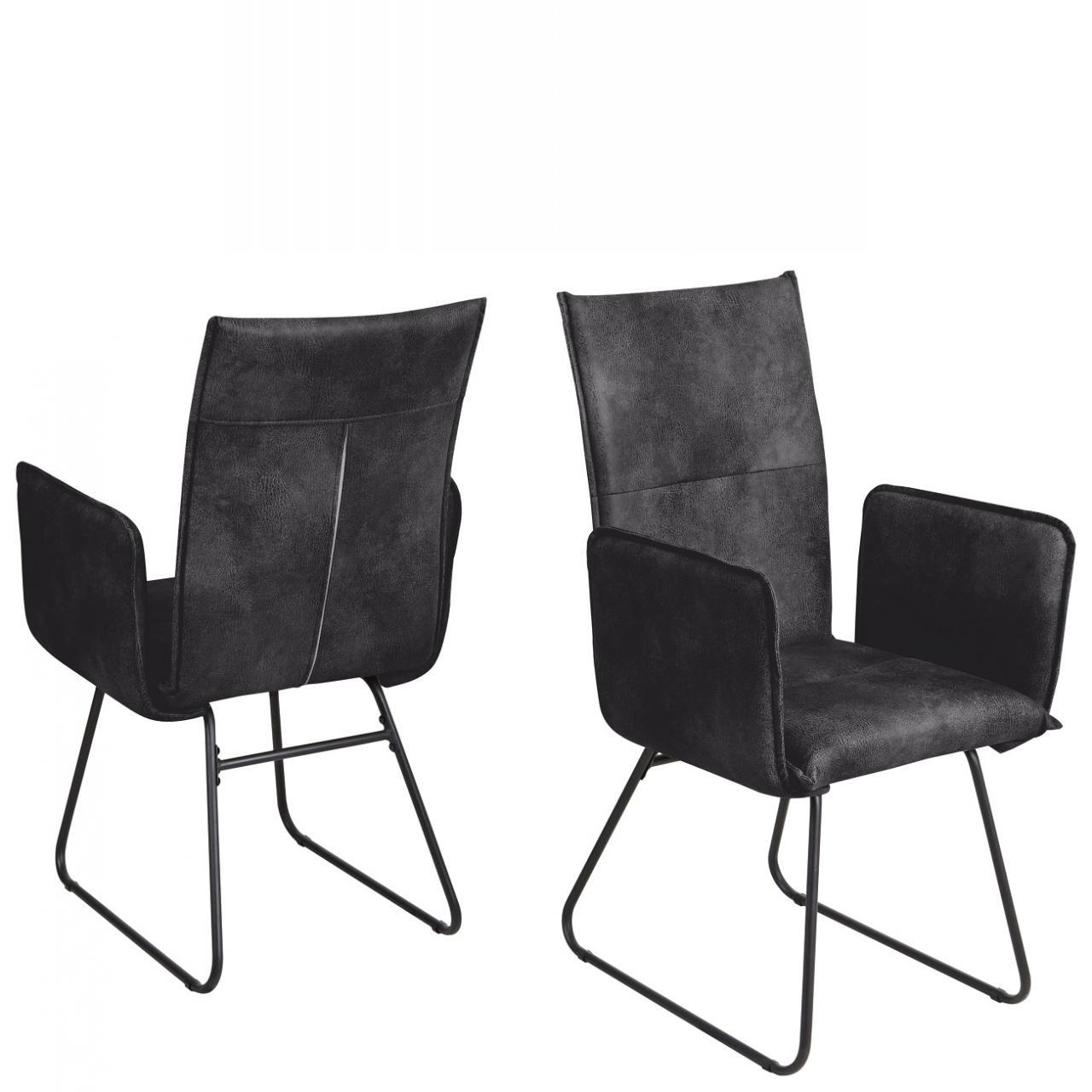 Stuhl Arona Schwarz Vintage Anthrazit Stoff Metall Mit Armlehnen Küchenestuhl Esszimmerstuhl