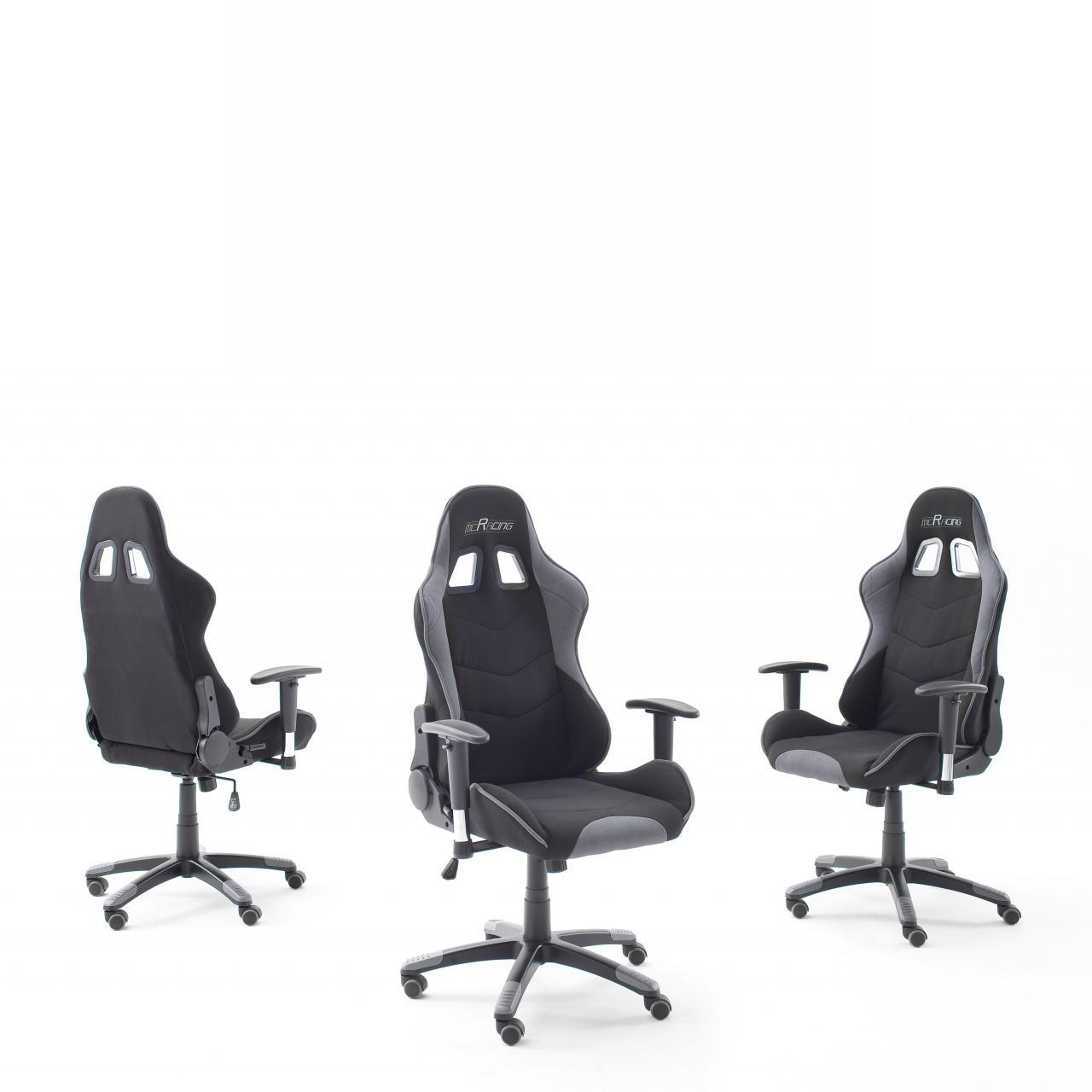 Gamingstuhl mcRacing 2 Grau Schwarz Gaslift Polyester Bürostuhl Drehstuhl Büro Stuhl