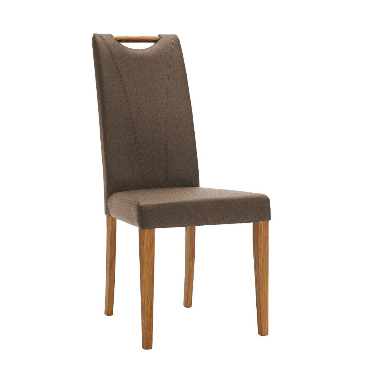 Stuhl 44 E6 Brown Natur Massivholz Stoff Esszimmerstuhl Küche 2er Set