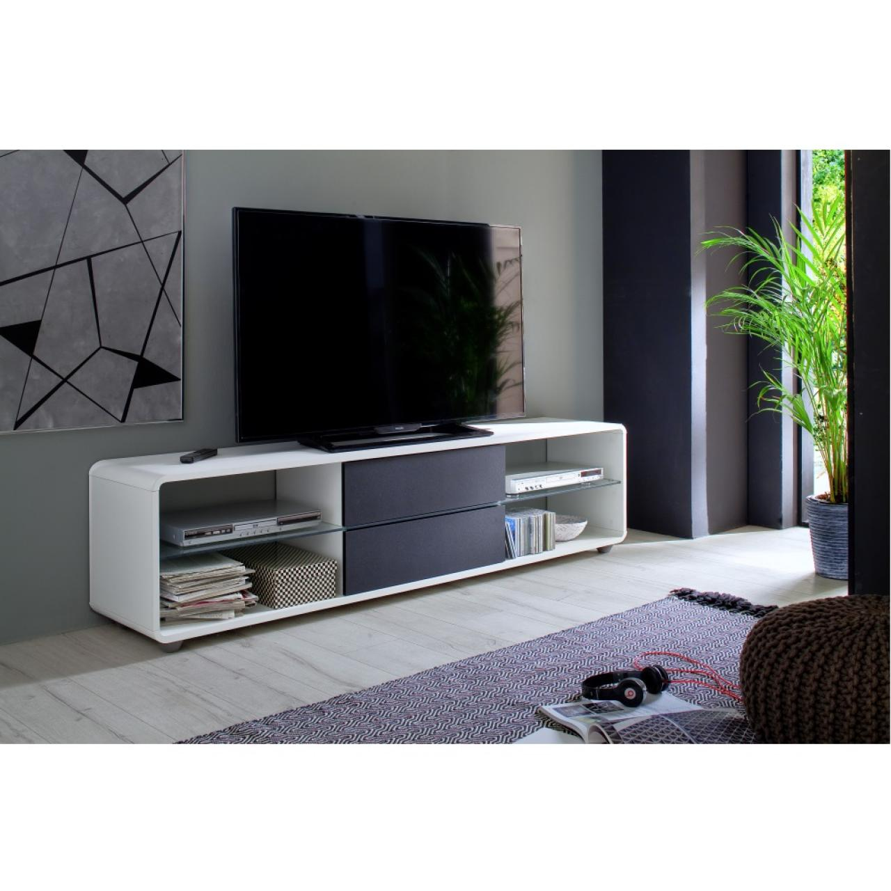 tv lowboard mariola wei anthrazit 4 offene f cher m bel j hnichen center gmbh. Black Bedroom Furniture Sets. Home Design Ideas