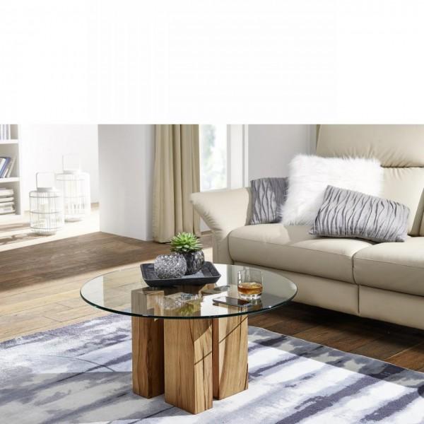 Couchtisch TI-0036 Wohnzimmertisch Glastisch Stubentisch Eiche Massivholz