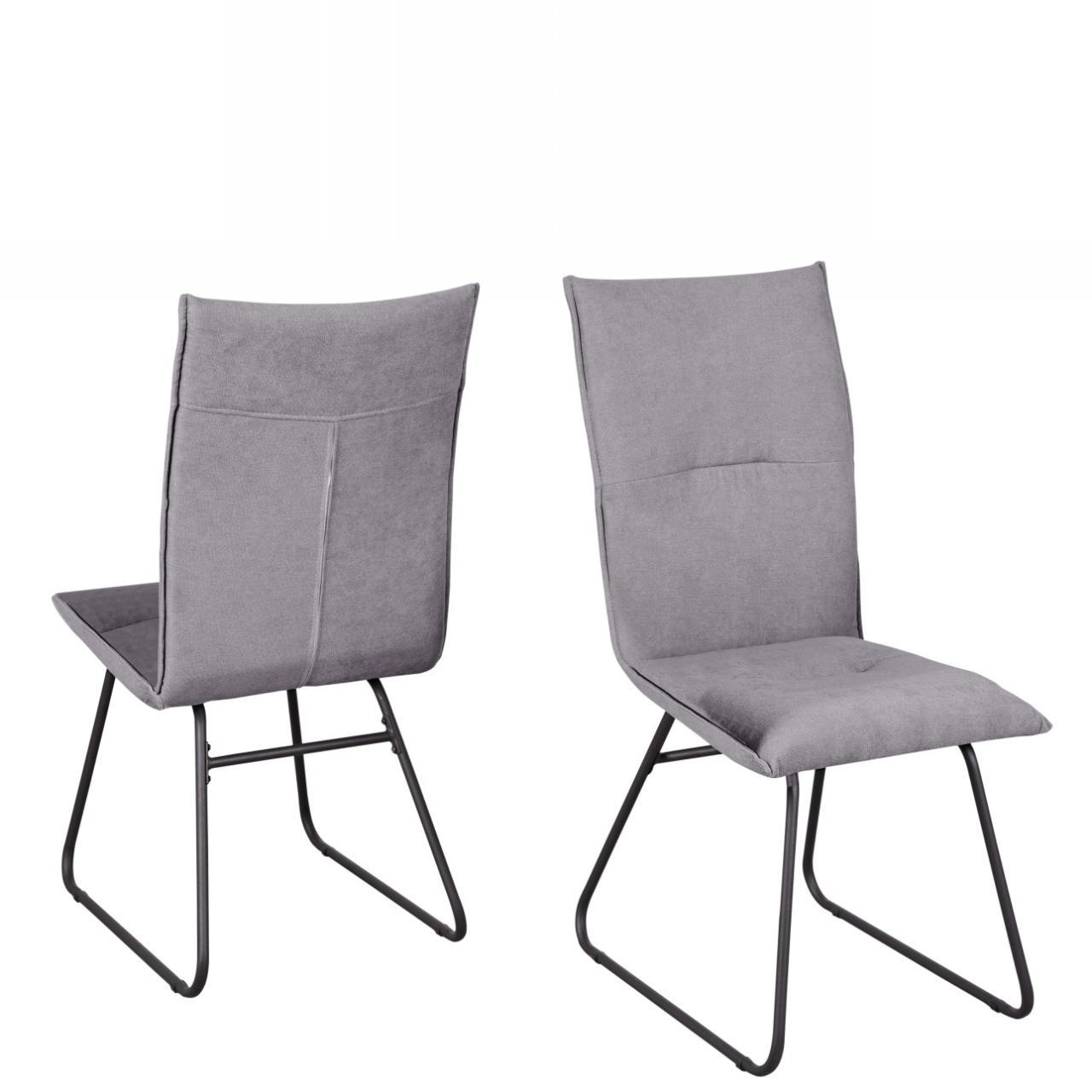 Stuhl Arona Küchenstuhl Esszimmerstuhl Stoff Metall Grau Schwarz