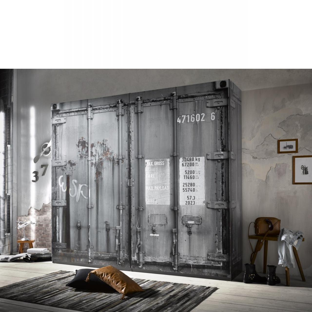 Kleiderschrank Container Drehtürenschrank Schlafzimmerschrank Dekorfolie Schrank