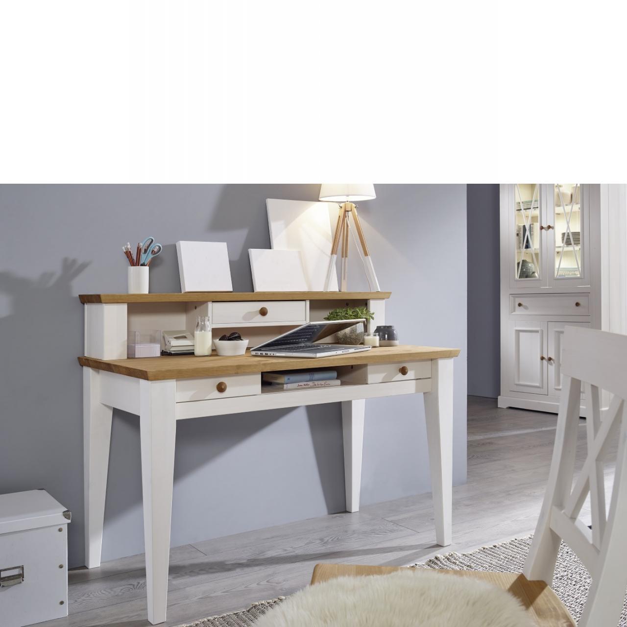 Schreibtisch WZ-0133 Weiß Eichenfarbig Kiefer Massiv 3 Schubkästen Büro Tisch
