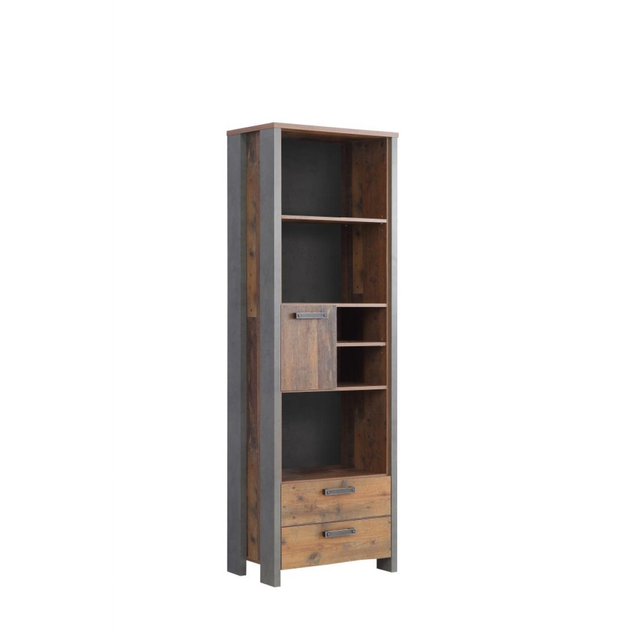 Regal Clif Highboardvitrine Old Wood Vintage Nb. Betonoptik Dunkelgrau MDF