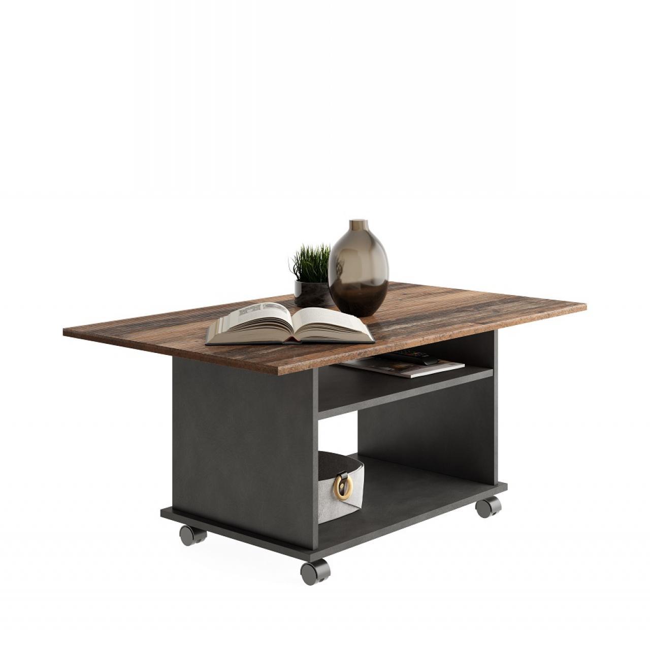 Couchtisch Azur 662-001 Matera Old Style Dunkel Mit Rollen Stubentisch Tisch Beistelltisch