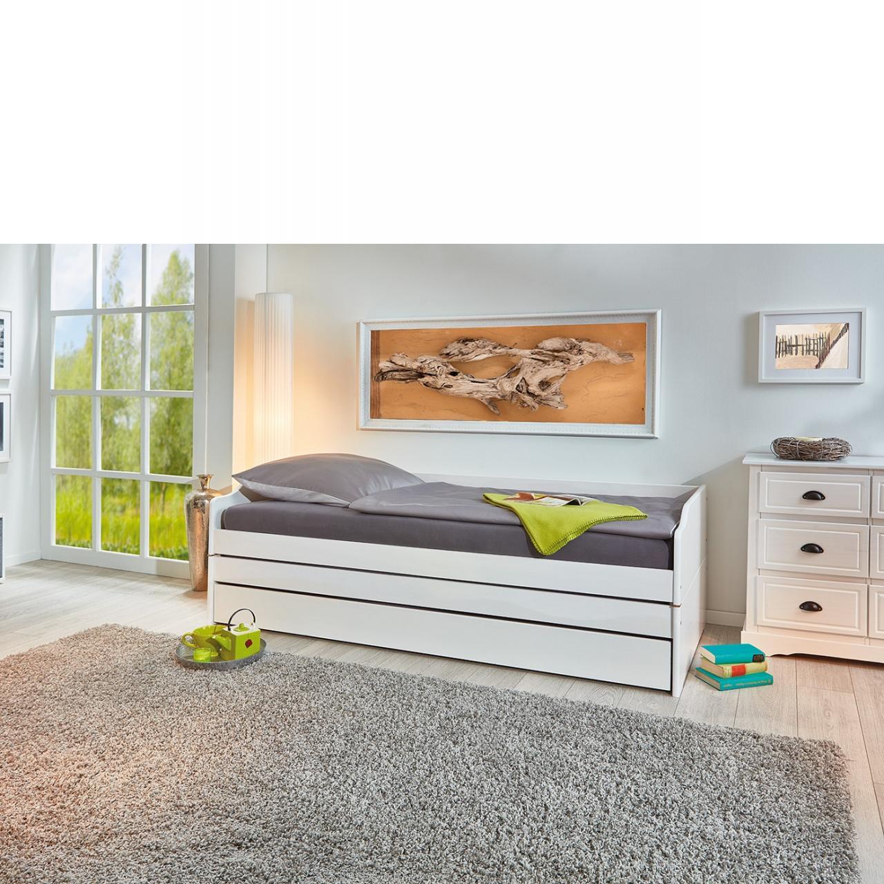 Funktionsbett Lotar 90x200 Gästebett Kinderbett Jugendbett Weiß Kiefer Massiv Drei Schlafmöglichkeit