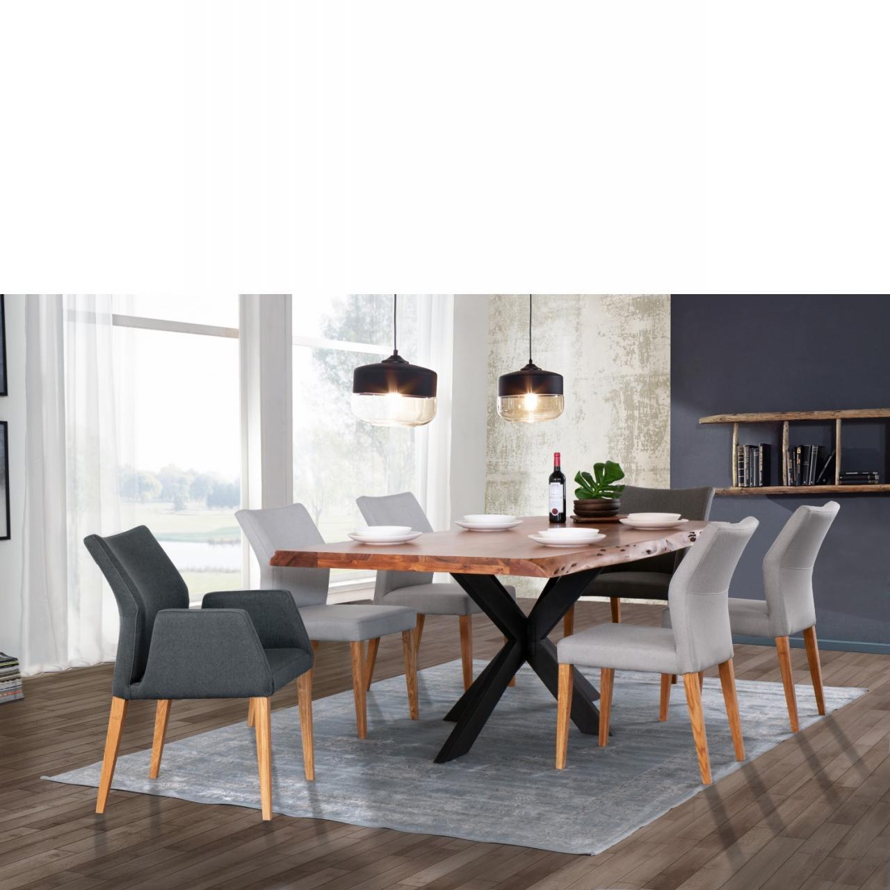 Esstisch TI-0492 Akazienholz Massiv Eisen Schwarz 220x100 Mit Baumkante Tisch